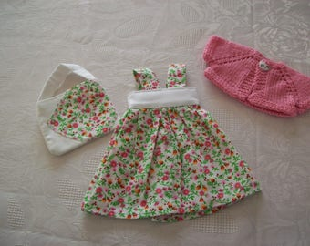 clothes for dolls 32/33 cm (dress, vest, bag) cotton print