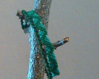 Green Friendship Bracelet handmade with dmc floss and tie