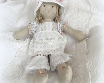 """Charlotte"" linen and antique lace collection doll"