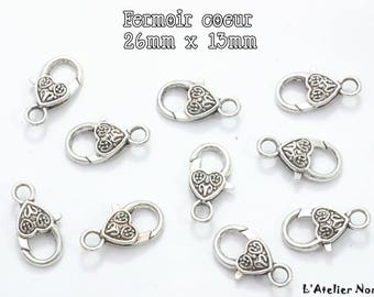 Silver heart lobster clasp, Antique 26mm x 13mm