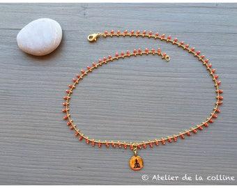 Zen minimalist necklace small glass beads on brass chain