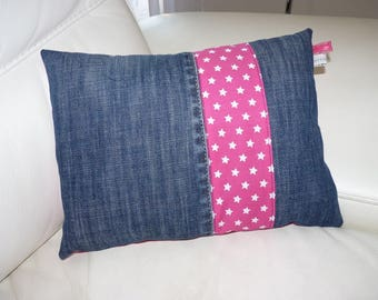 Decorative cushion in denim cotton and recycled fuchsia starry @berlingot72