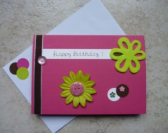 Hot pink, lime and chocolate birthday card