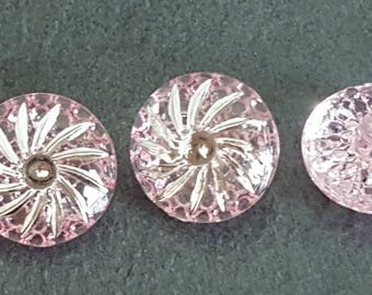20 buttons fancy licenced pink and silver, buttons crystal buttons knitting sewing 13 mm buttons