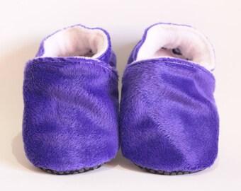 Soft purple extra soft velvet child baby girl booties * custom *.