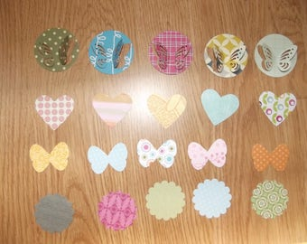 Set of butterflies, hearts, round scalloped for scrapbooking.