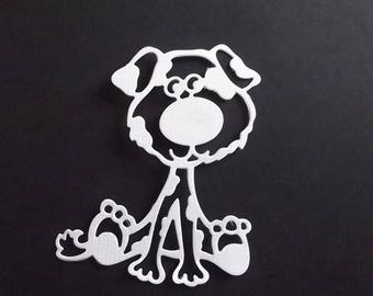"Set of 10 white cuts ""dog"" for your scrapbooking creations."