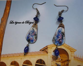 Enameled metal and glass beads dangling earrings
