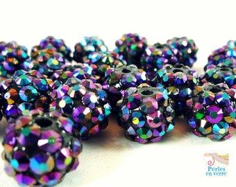 5 pearls purple iridescent black Shamballa rhinestone 10mm (psh13)