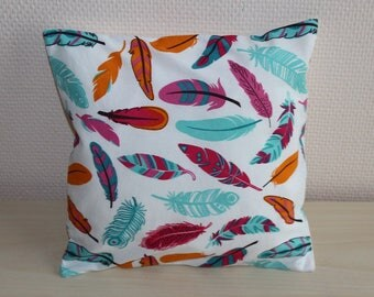 Pillow cover - feathers - multicolored - 24 x 24 cm