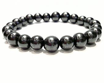 shungite bracelet shungite jewelry mens womens beads bracelet 8 mm schungite stone bracelet black stone bracelet healing gemstone protection