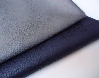 Lot 2 Coupons - 50x35cm - faux leather - grey mouse and marbled - Navy Blue