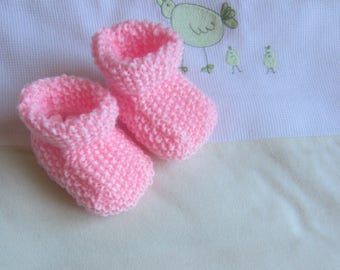 "Baby booties baby girl birth ""rose"" hand made knit"