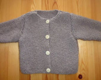 hand knitted grey baby vest size 1 year