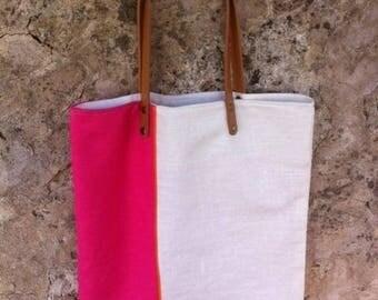 Bag rectangular linen tote bag with
