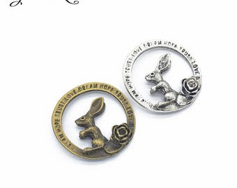 2 pendant 33 x 33 mm within 15 days Alice rabbit charms