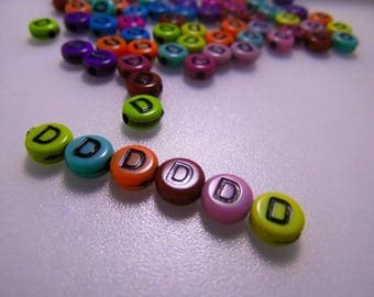 LETTERS COLORS - D - 7MM ACRYLIC BEADS