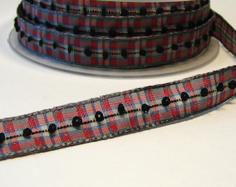 Plaid Ribbon, 12 mm, gray, red, white, embroidered black, sold by the yard.