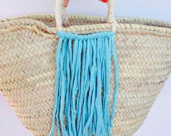 TIA- Boho Ibiza Straw Basket - Market Shopping Beach Bag- Turquoise Tassels Fringing - Bohemian Hippie Style - Customise Me!