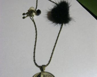"""Pendant necklace/retro/vintage bronze with glass cabochon 25mm """"Piano and music notes"""""""
