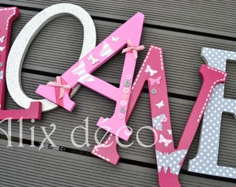 Child's name in wooden letters painted and decorated to hang theme butterflies (made to order)