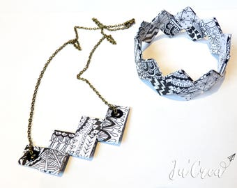 Set necklace and bracelet black and white geometric origami set