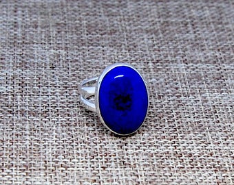 Lapis Lazuli and Sterling Silver Ring Size 5 1/2