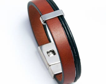 Mens light brown leather bracelet and black cords