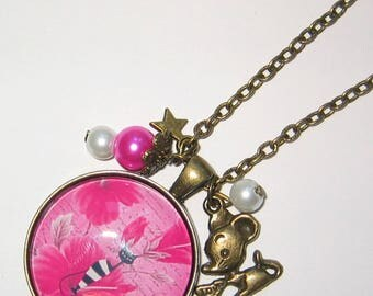 Necklace jewel cabochon 30mm * cat and flowers *.