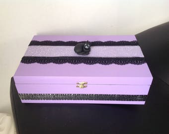 Cat... Purple violet tea box purple, black and silver