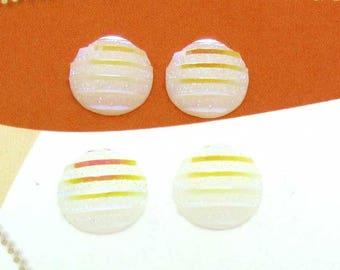 Set of 6 Cabochons 10 mm round resin Shine glitter white streaked - 10 mm