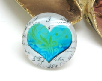1 cabochon 30 mm glass heart Vintage blue and green - 30 mm