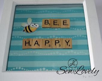 Bee Happy Scrabble Frame