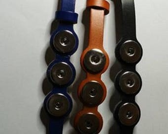 Set of three leather bracelets black blue and Brown