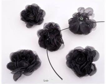 set of 5 flower ± 43x22mm textile bead flowers