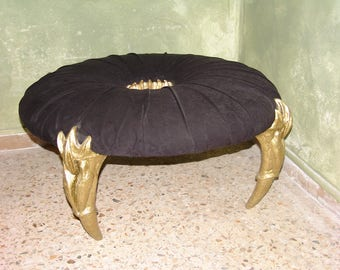 JARED pouf upholstered seat artwork and design central sculpture and gold finish resin legs micro-fiber fabric wood frame