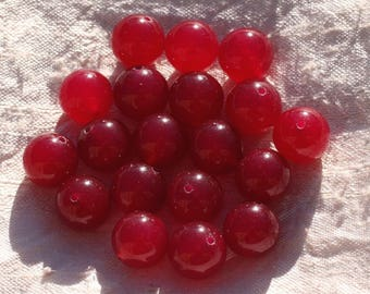 Wire 32pc approx 39cm - balls 12mm red Jade stone - beads