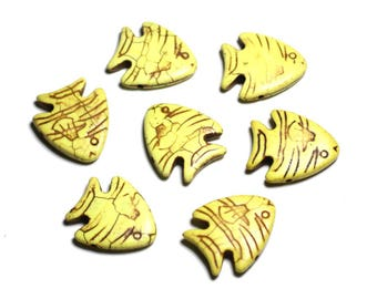 10pc - stone beads Turquoise synthetic - fish 26 mm yellow - 4558550088147