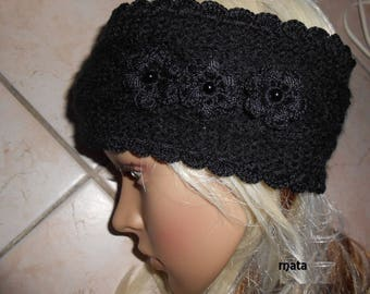 Headband hand made black phildar