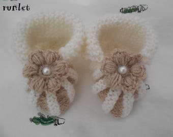soft booties hand knitted doll