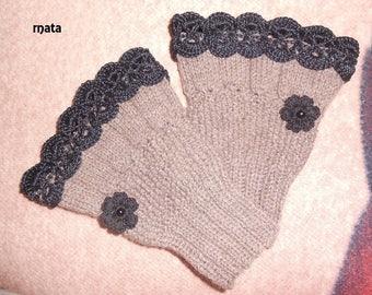 Marrone phildar wool arm warmers made of 30% wool, Black Lace