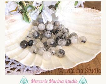 5 natural quartz tourmaline 8mm beads - bead round 8mm