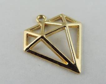 x 10 charms diamond filigree 14 x 16mm