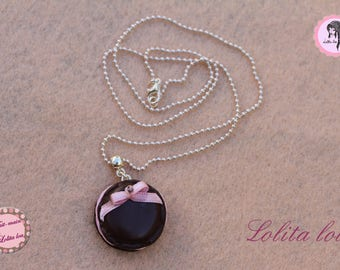 Gourmet jewelry: necklace macaroon chocolate ice cream polymer clay