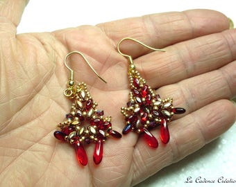 Red iridescent and gold beaded earrings