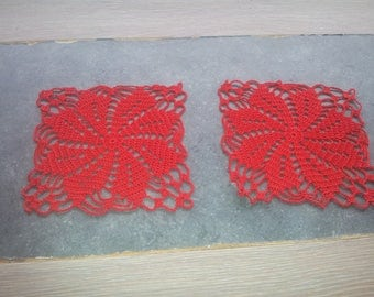 set of 2 small 6 crocheted doilies