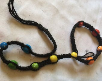Black Hemp Necklace with Wooden Beads in Rainbow Pattern