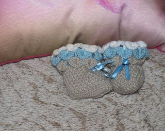 PAIR OF SLIPPER BLUE/TAUPE HANDMADE SIZE 6 MONTHS