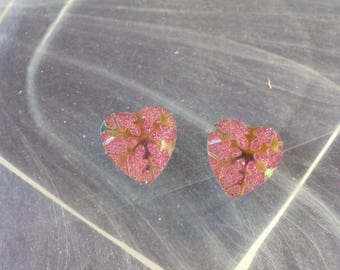set of 2 heart pink glossy clear cabochon scrapbooking