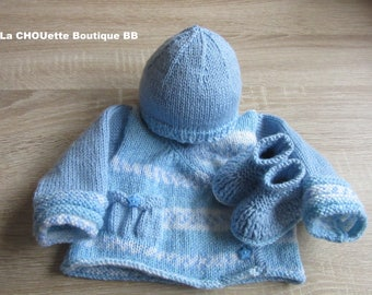 Box baby birth (jacket, Bonnet and booties)